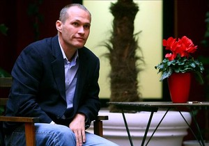 L'escriptor nord-americà David Vann, la setmana passada, en un hotel de Madrid.
