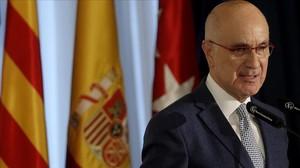 El líder de Unió, Josep Antoni Duran Lleida, durante un desayuno informativo en Madrid.