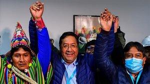 Luis Arce, este domingo, tras conocer el resultado del primer recuento electoral que le da como vencedor.