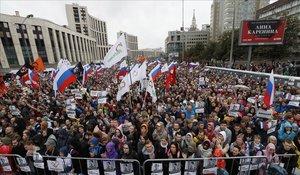 Manifestación en Moscú contra Putin, este sábado.