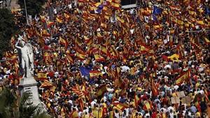 Manifestación de Societat Civil Catalana en Barcelona el pasado 8 de octubre