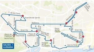 Recorrido del Maratón de Barcelona 2019, que se disputa hoy domingo 10 de marzo.