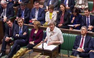 May, durante su exposición en el Parlamento.