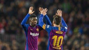 Messi y Dembélé se felicitan en el segundo gol del Barça al Celta.