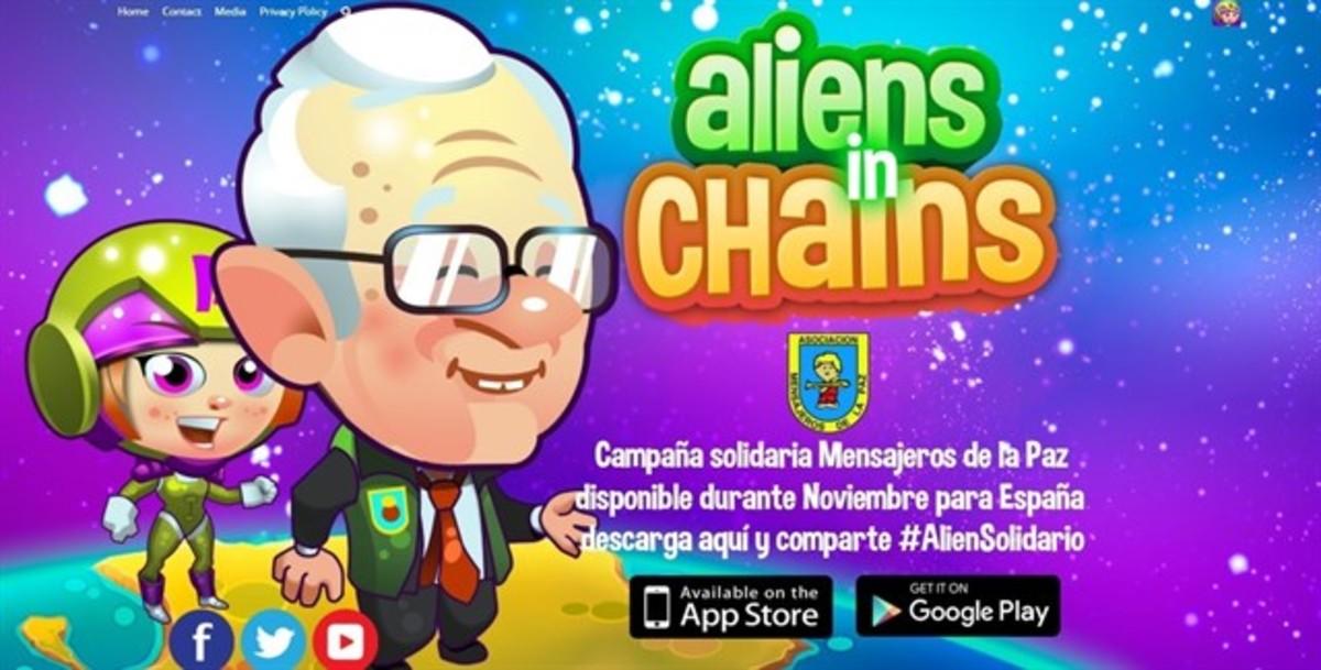 Imagen del juegoAliens in Chains en su versión solidaria, de la que es personaje el padre Ángel.