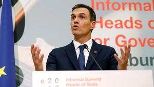 Pedro Sánchez, durante la rueda de prensa para valorar el Consejo Europeo extraordinario.