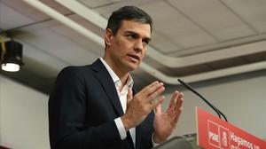 Pedro Sánchez, este viernes en la sede del PSOE.
