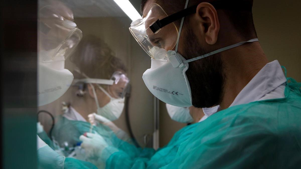 Personal sanitario trabaja con muestras positivas de covid-19 en el laboratorio del Hospital Germans Trias i Pujol de Badalona el pasado día 8.