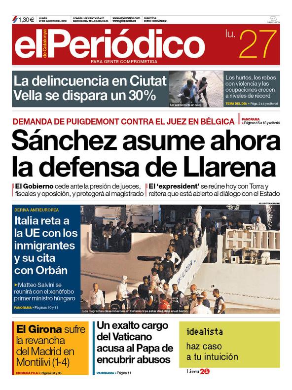 La portada de EL PERIÓDICO del 27 de agosto del 2018