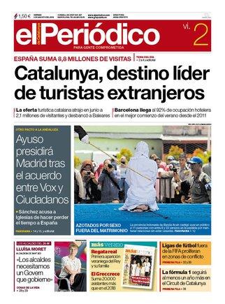 La portada de EL PERIÓDICO del 2 de agosto del 2019