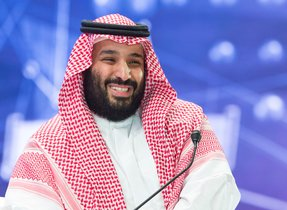 El príncipe heredero, Mohammed bin Salmán, durante su discurso durante el Davos del desierto en Riyad.