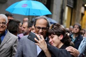 El presidente de la Generalitat, Quim Torra, de visita en Girona este sábado.