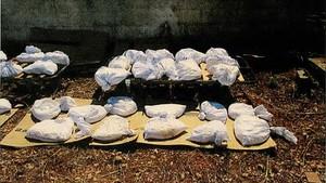 Sacos con peróxido de acetona (TATP), en el patio de la casa de Alcanar que utilizaron los terroristas de Barcelona y Cambrils.