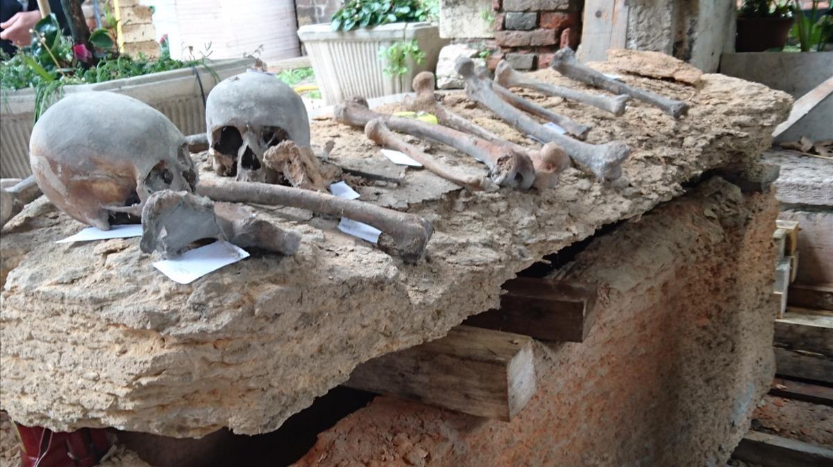 El sarcófago descubierto enVeronadonde se han localizado los supuestos restos del gran maestre Arnau de Torroja.