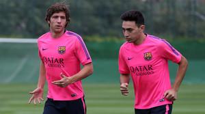 Sergi Roberto i Munir, durant un entrenament a la ciutat esportiva del Barça.