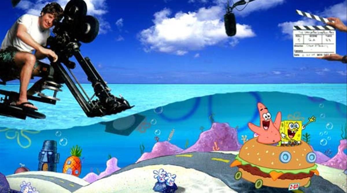 Stephen Hillenburg, en una imagen promocional de Bob Esponja: La película.