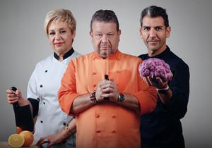 Susi Díaz, Alberto Chicote y Paco Roncero, jurado del concurso gastronómico de Antena 3 'Top chef'.
