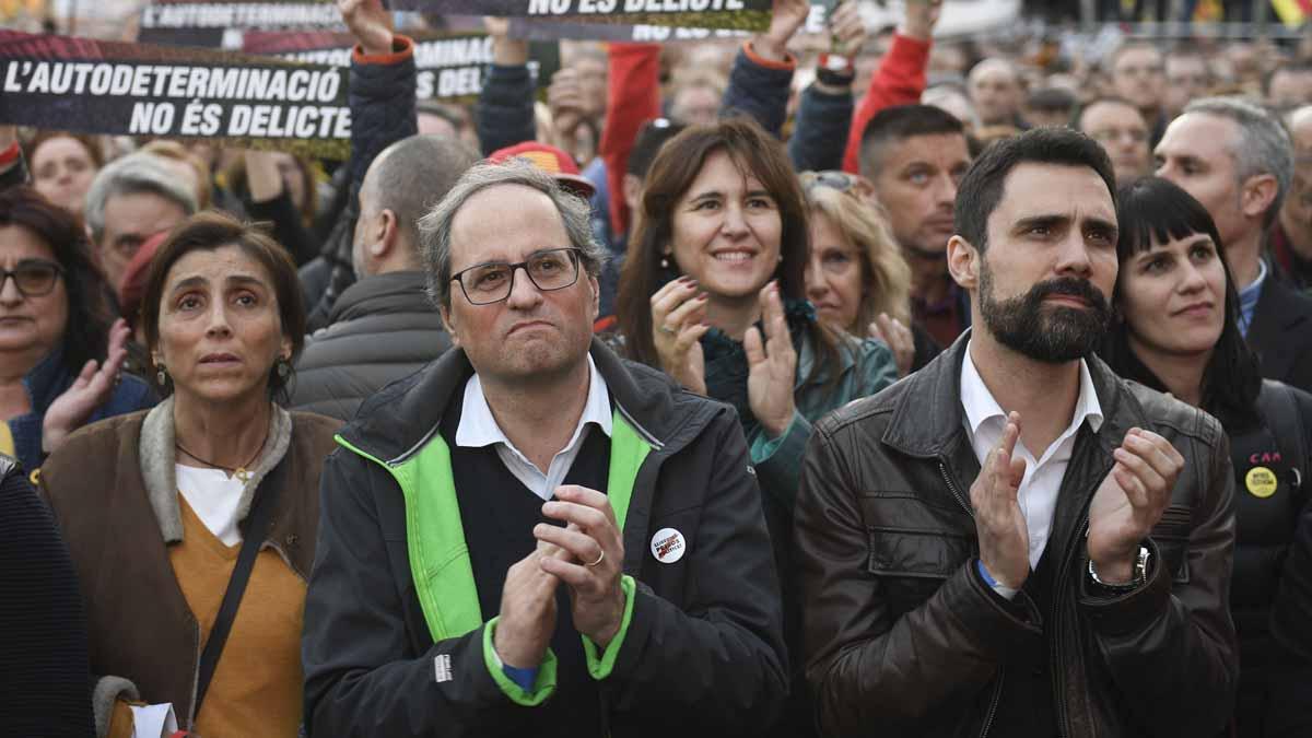 'Estamos hartos de tener presos políticos y exiliados', ha aseverado en declaraciones a los medios antes de participar en la manifestación unitaria del soberanismo.