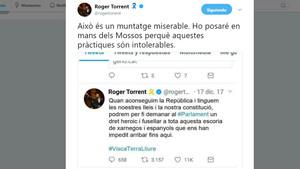 Captura de pantalla del tuit en el que Roger Torrent denuncia mensajes que suplantansu identidad.