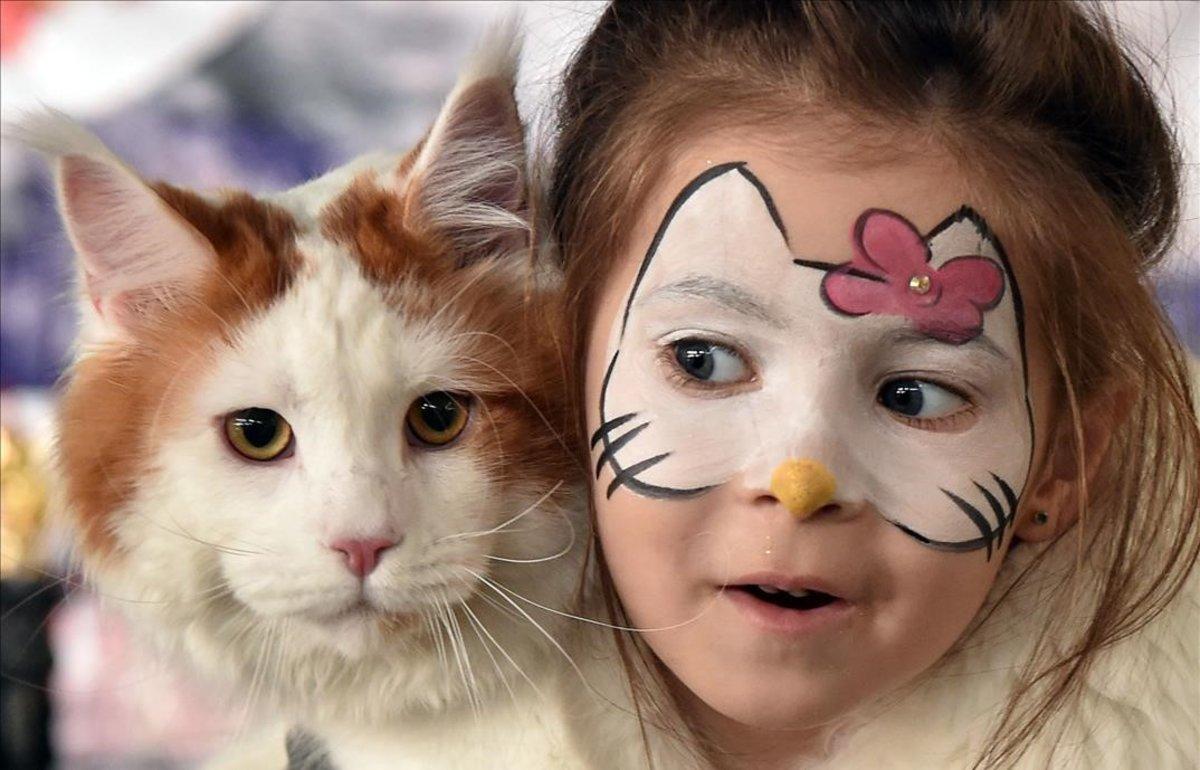 Una niña con su gato en una muestra de animales en Bishkek, Kirguistán.