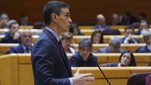 El presidente del Gobierno, Pedro Sánchez, en la sesión de control al Ejecutivo