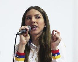 Fabiana Rosales, esposa de Juan Guaidó en un gira por Perú.