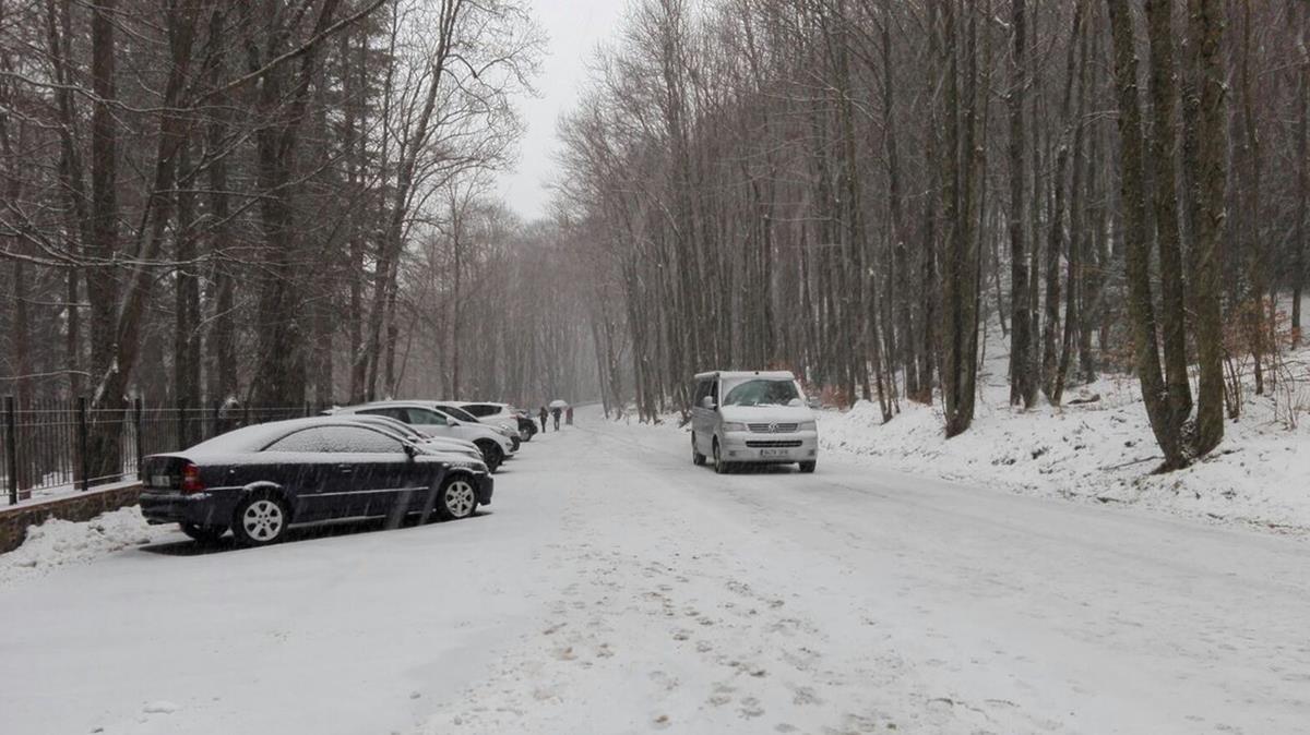 La carretera BV-5114 cubierta de nieve en Fogars de Montclús.