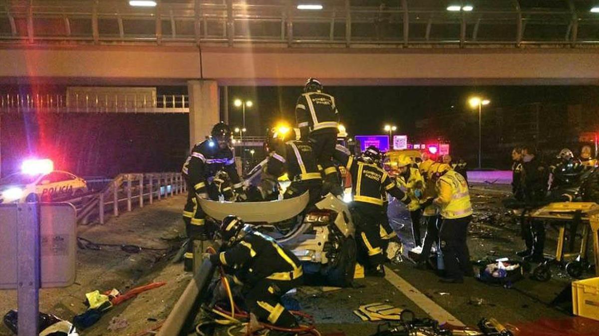 Imagen de un conductor kamikaze en la M-30 de Madrid.