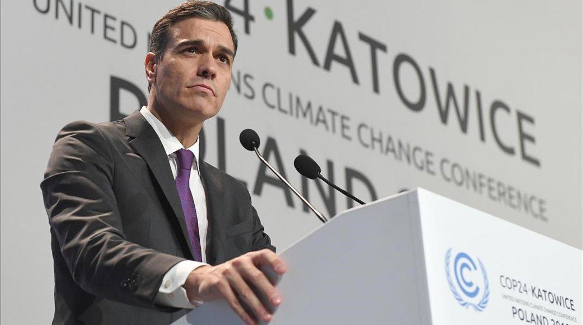 Pedro Sánchez, en la cumbre del clima de Katowice.