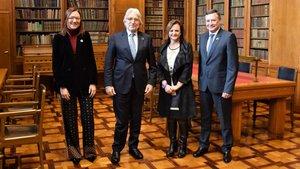 Desde la izquierda, Marta Angrri, Josep Sánchez Llibre, Cristina Gallach y Àngel Simón.