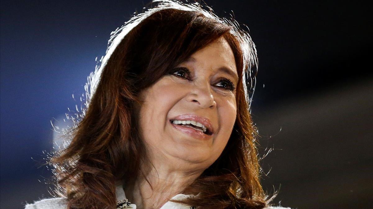 Cristina Fernández de Kirchner en la presentación de su libro en mayo del 2019.