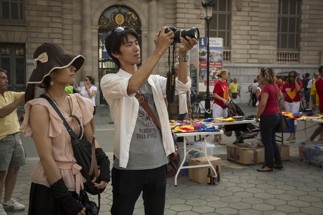 Dos turistas en Barcelona, el pasado 11 de septiembre.