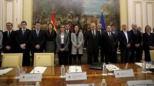 José Ignacio Wert, ministre dEducació, durant el minut de silenci, abans de la reunió sectorial amb consellers de totes les comunitats autònomes, amb motiu dels fets que van tenir lloc ahir a linstitut