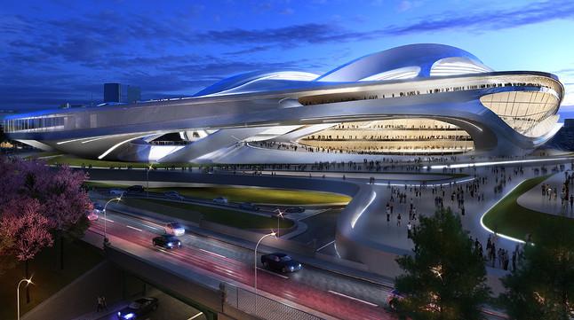 Imagen virtual del nuevo estadio olímpico de Tokio, que finalmente no se construirá