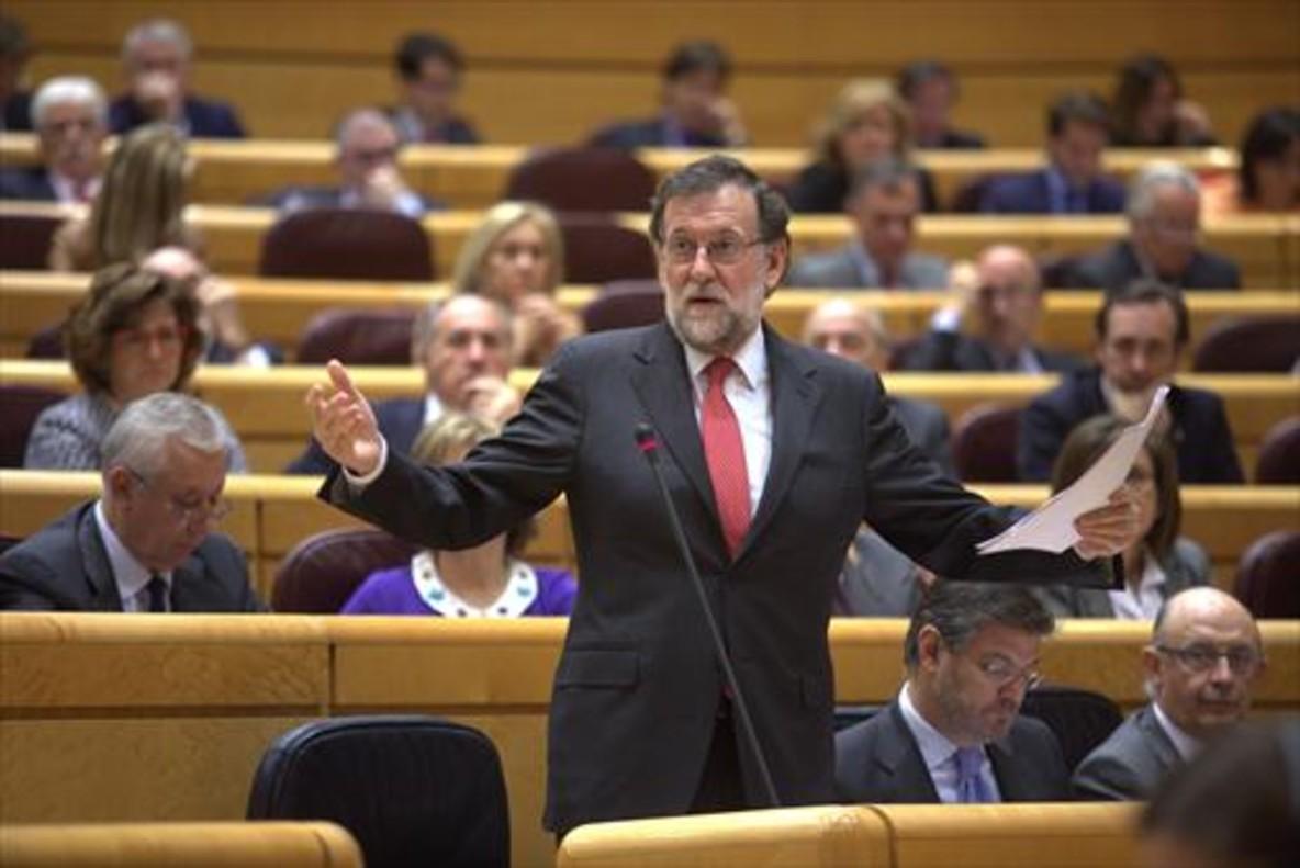 Rajoy, en la sesión de control al Gobierno en el Senado.