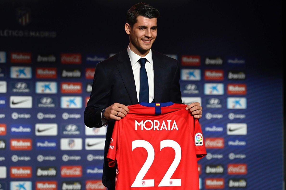 Álvaro Morata en su presetnación como jugador del Atlético de Madrid.