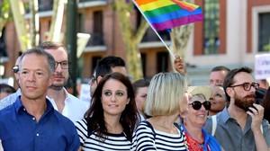 Andrea Levy, vicesecretaria de Estudios y Programas del PP, en la manifestación del Orgullo Gay en Madrid.