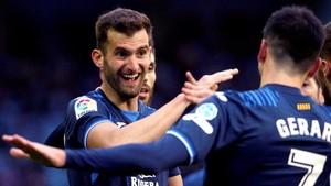 Baptistao celebra el 0-1 con sus compañeros.