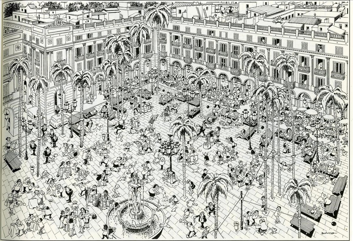 La plaza Reial, en Barcelona, de Blanco.