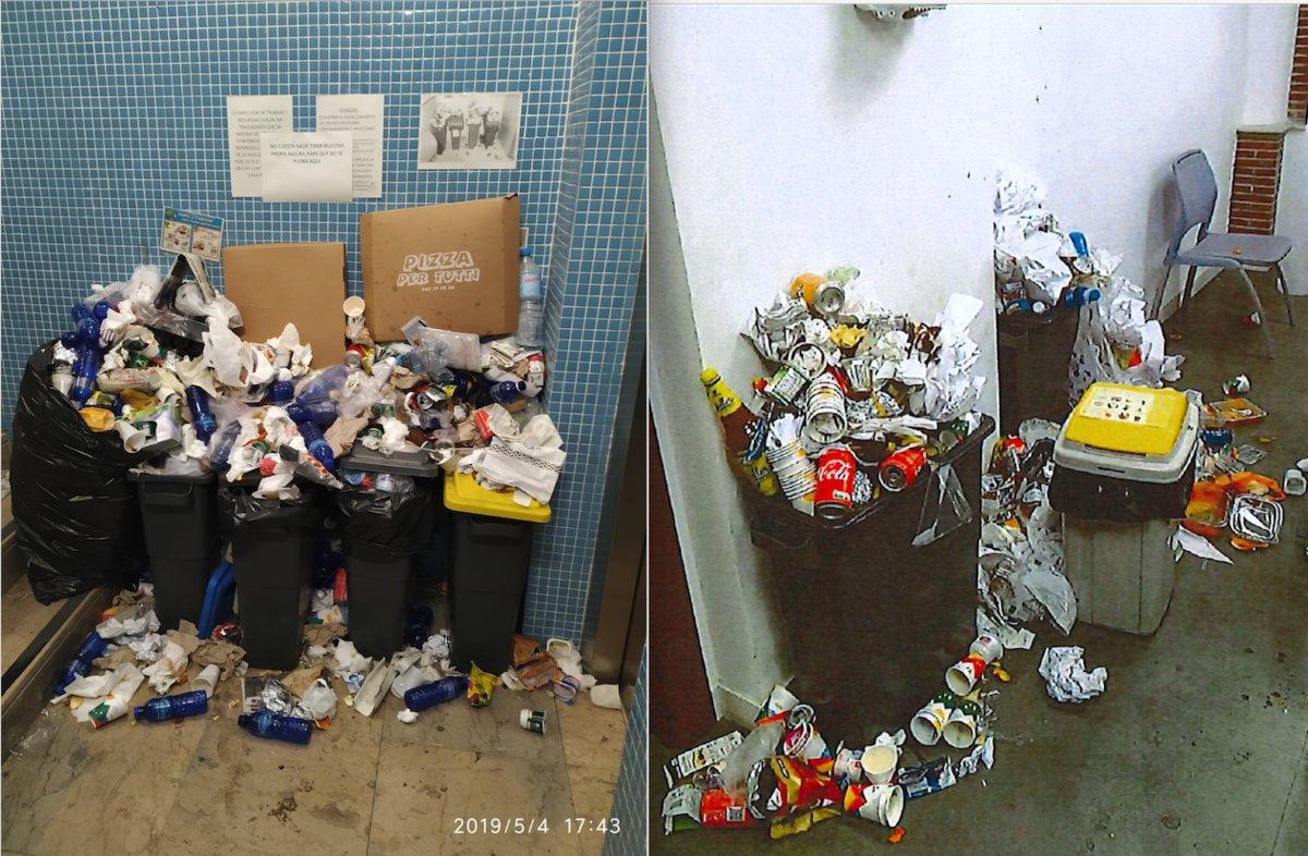 Basura acumulada en la comisaría de la Ertzaintza en Bergara.