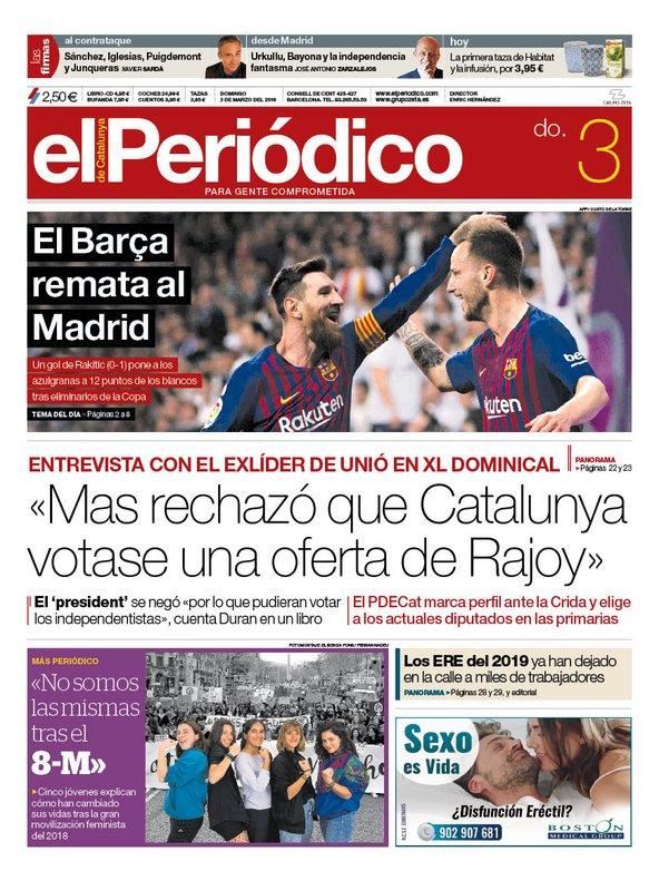 La portada de EL PERIÓDICO del 3 de marzo del 2019
