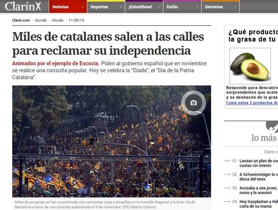 El diario Clarín hace especial referencia al tricentenario de la caída de Barcelona.