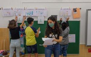 Talleres, en junio de este año, en la escuela Octavio Paz de Barcelona.