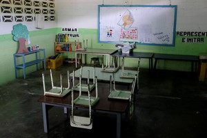 Empty desks are seen in a classroom on the first day of school in Caucagua Venezuela September 17 2018 REUTERS Marco Bello