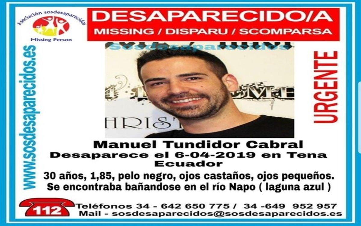 Joven español desaparecido en Ecuador.