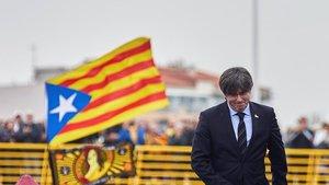 El 'expresident' Carles Puigdemont, el sábado, en Perpinyà.