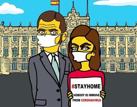 Felipe y Letizia, 'simpsonizados' por el activista pop Alexsandro Palombo.