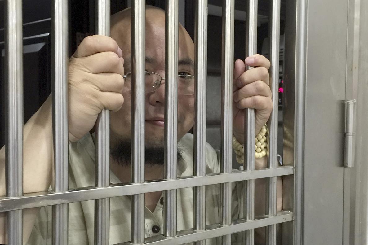 Wu Gan, detenido en la comisaría de Nanchang, en una imagen de mayo del 2015.