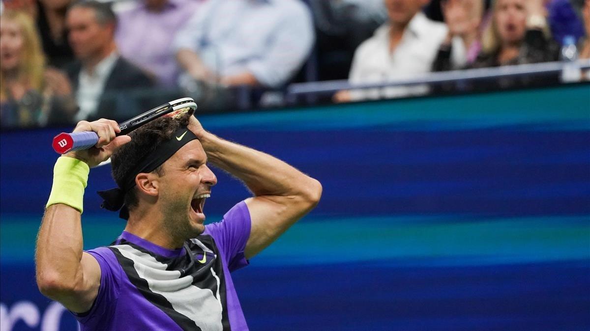 Grigor Dimitrov, tras batir a Federer en Nueva York.