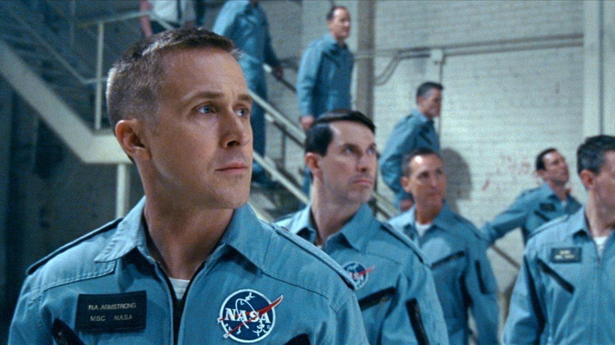 Ryan Gosling en una escena de First man: El primer hombre, dirigida porDamien Chazelle.